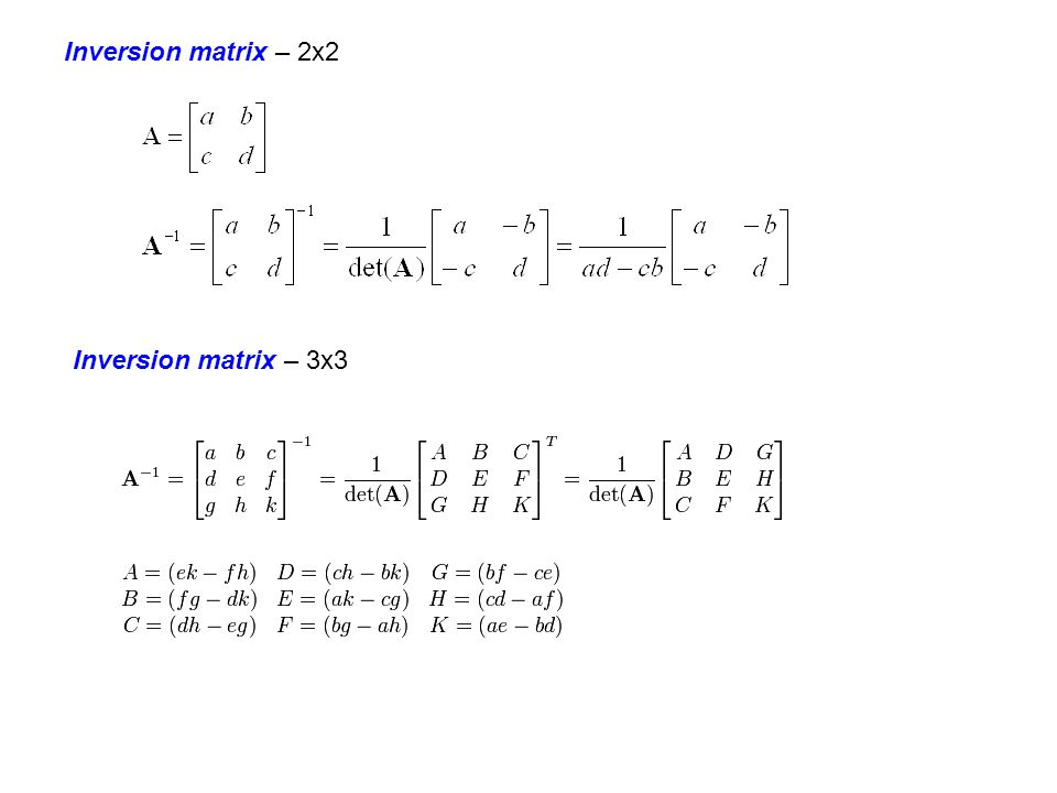 Inversion matrix – 2x2 Inversion matrix – 3x3