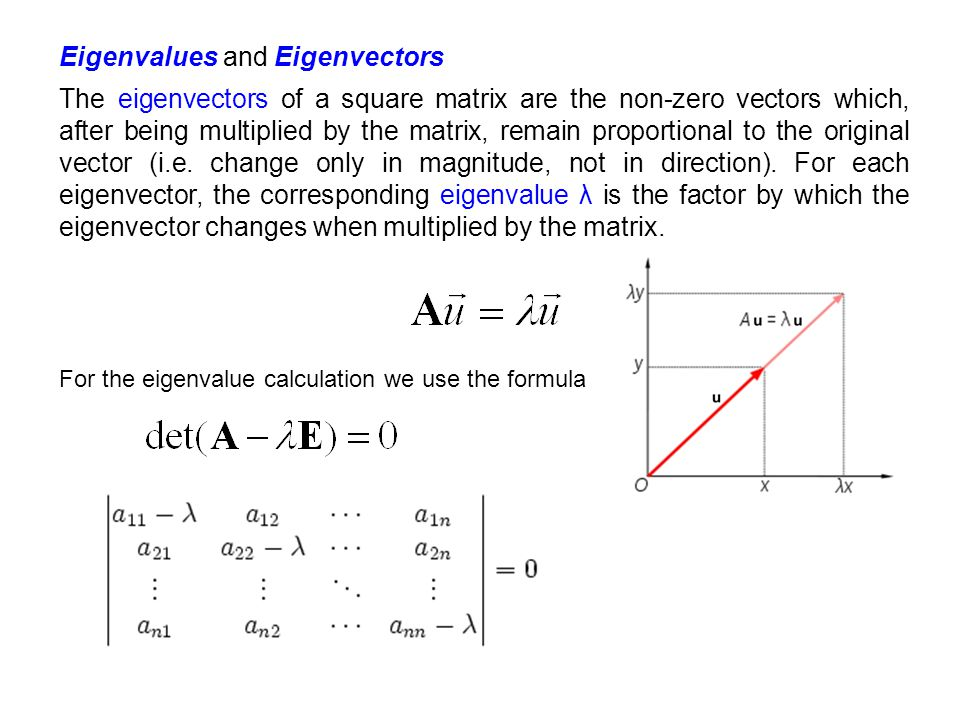 For the eigenvalue calculation we use the formula Eigenvalues and Eigenvectors The eigenvectors of a square matrix are the non-zero vectors which, aft