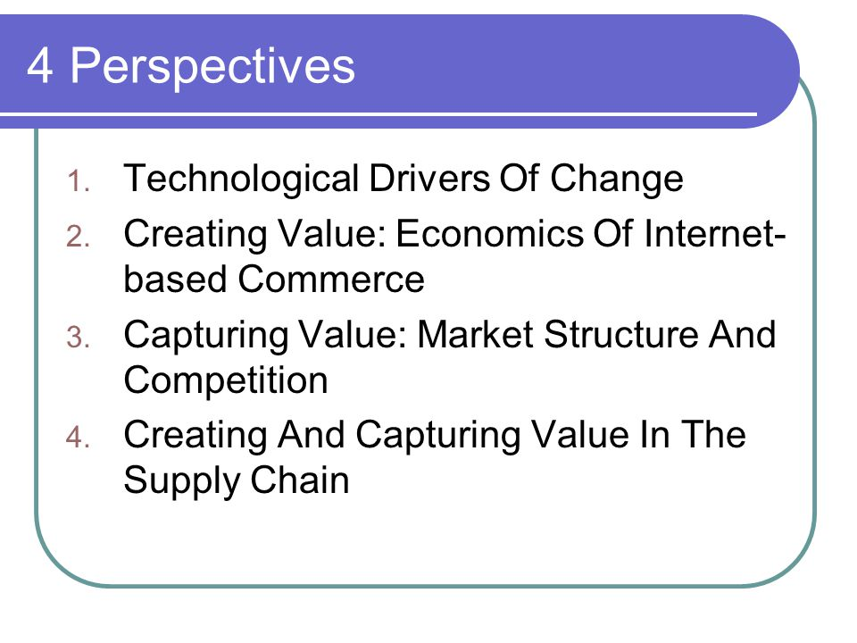4 Perspectives 1. Technological Drivers Of Change 2.