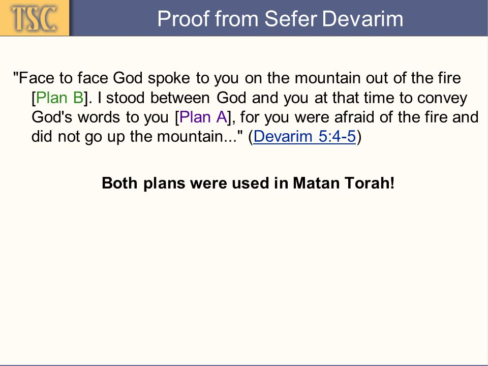 Proof from Sefer Devarim Face to face God spoke to you on the mountain out of the fire [Plan B].