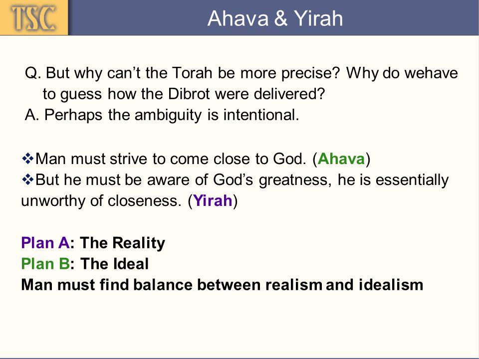 Ahava & Yirah Q. But why can't the Torah be more precise.