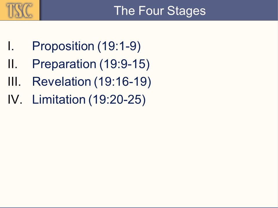 The Four Stages I.Proposition (19:1-9) II.Preparation (19:9-15) III.Revelation (19:16-19) IV.Limitation (19:20-25)