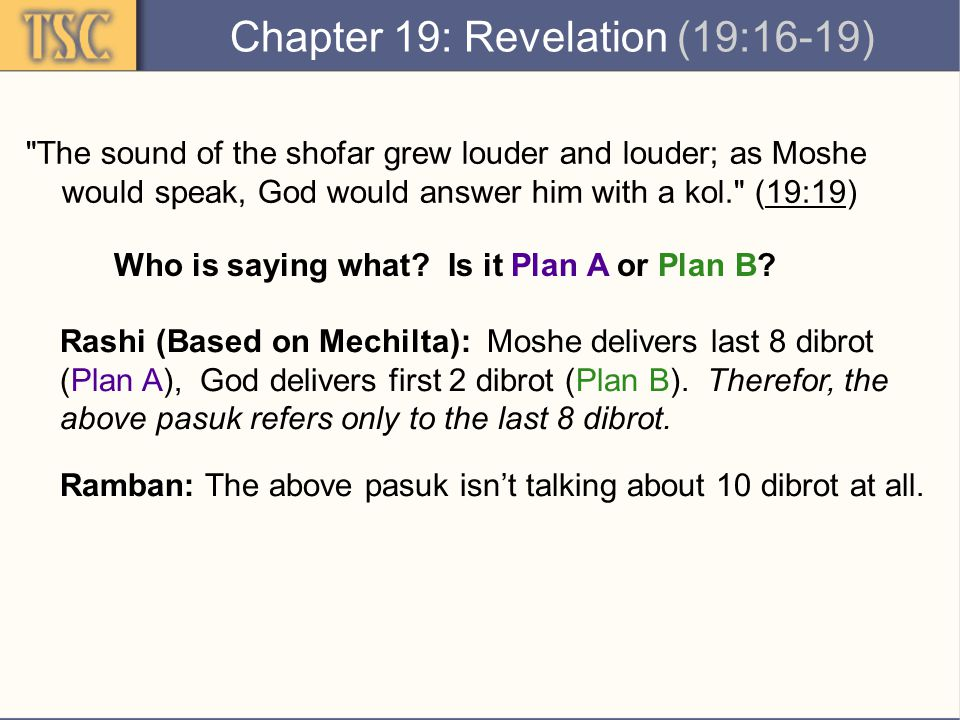 Chapter 19: Revelation (19:16-19) The sound of the shofar grew louder and louder; as Moshe would speak, God would answer him with a kol. (19:19) Who is saying what.