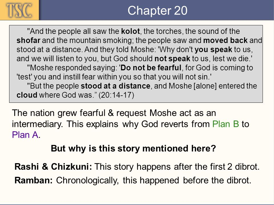 Chapter 20 And the people all saw the kolot, the torches, the sound of the shofar and the mountain smoking; the people saw and moved back and stood at a distance.