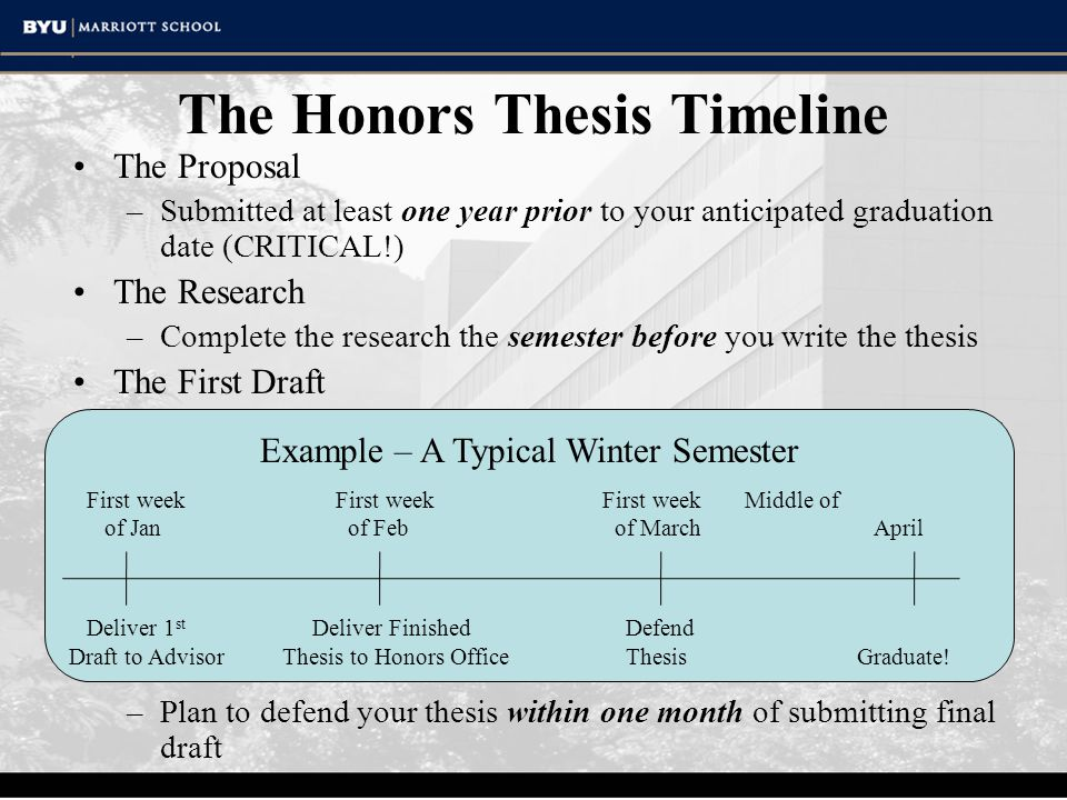 The Honors Thesis Timeline The Proposal –Submitted at least one year prior to your anticipated graduation date (CRITICAL!) The Research –Complete the research the semester before you write the thesis The First Draft –The advisor should see a complete first draft at least two months before you plan to have your defense The Final Draft –Submit the final draft of the thesis and honors portfolio to the Honors Advisement Center three months prior to your graduation date The Defense –Plan to defend your thesis within one month of submitting final draft Example – A Typical Winter Semester First week First week First week Middle of of Jan of Feb of March April Deliver 1 st Deliver Finished Defend Draft to AdvisorThesis to Honors Office Thesis Graduate!