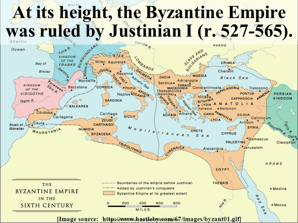 At its height, the Byzantine Empire was ruled by Justinian I (r. 527-565). [Image source: http://www.bartleby.com/67/images/byzant01.gif]