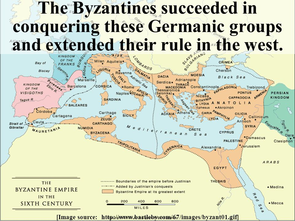 The Byzantines succeeded in conquering these Germanic groups and extended their rule in the west. [Image source: http://www.bartleby.com/67/images/byz