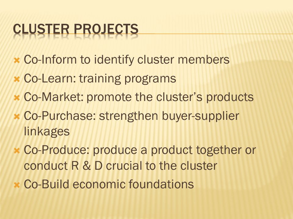  Co-Inform to identify cluster members  Co-Learn: training programs  Co-Market: promote the cluster's products  Co-Purchase: strengthen buyer-supplier linkages  Co-Produce: produce a product together or conduct R & D crucial to the cluster  Co-Build economic foundations