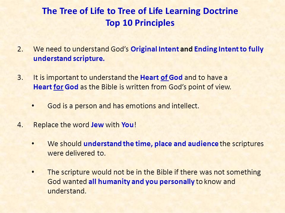 The Tree of Life to Tree of Life Learning Doctrine Top 10 Principles 2.We need to understand God's Original Intent and Ending Intent to fully understa