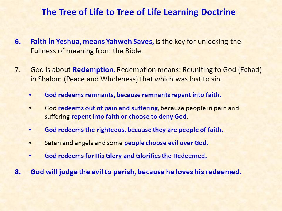 The Tree of Life to Tree of Life Learning Doctrine 6.Faith in Yeshua, means Yahweh Saves, is the key for unlocking the Fullness of meaning from the Bi