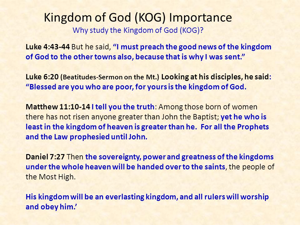 """Luke 4:43-44 But he said, """"I must preach the good news of the kingdom of God to the other towns also, because that is why I was sent."""" Luke 6:20 (Beat"""