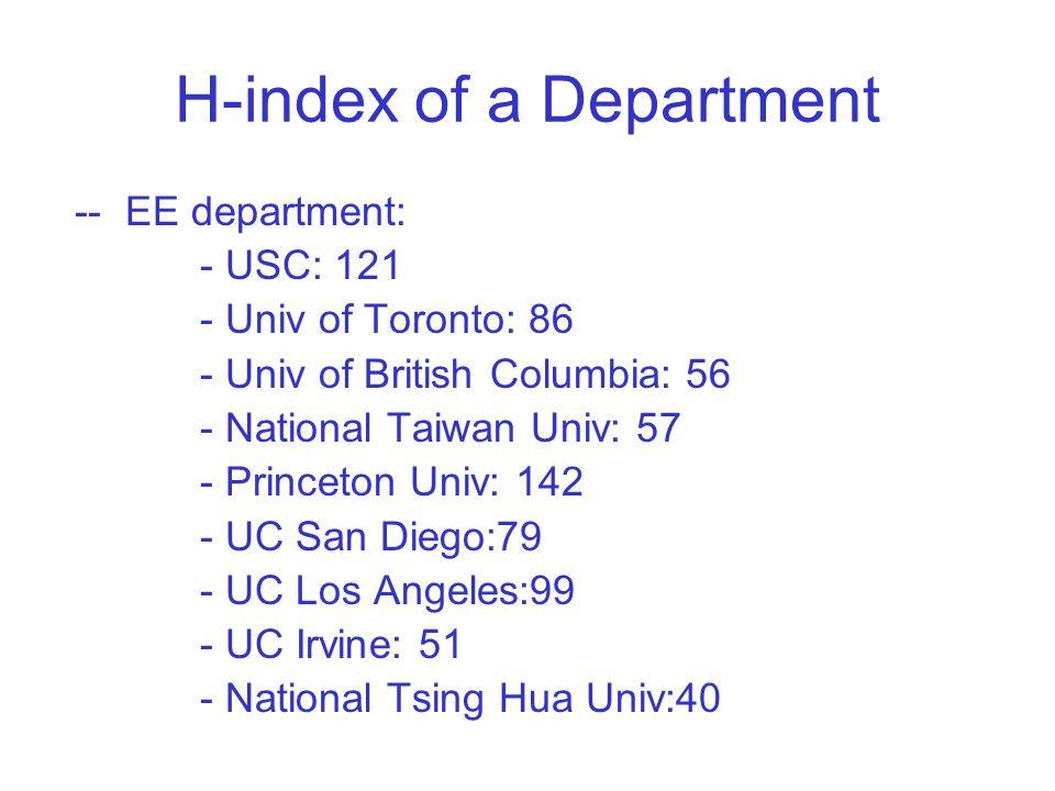 H-index of a Department -- EE department: - USC: 121 - Univ of Toronto: 86 - Univ of British Columbia: 56 - National Taiwan Univ: 57 - Princeton Univ: 142 - UC San Diego:79 - UC Los Angeles:99 - UC Irvine: 51 - National Tsing Hua Univ:40