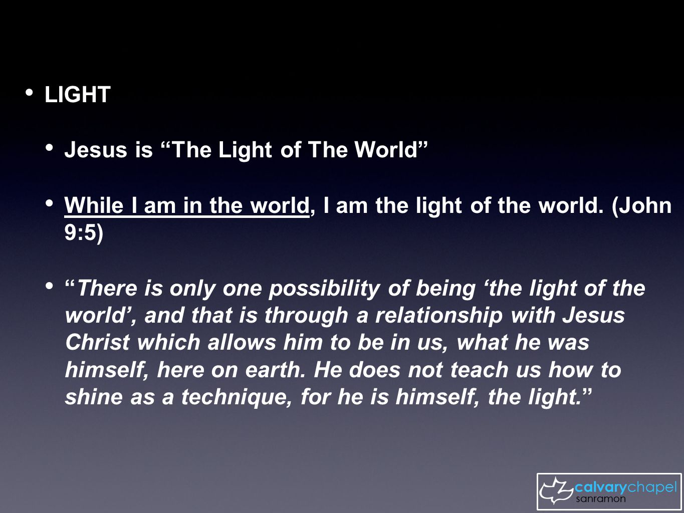 Simeon: ...a light for revelation to the Gentiles, and the glory of your people Israel. (Luke 2:32) 'The true light that gives light to every man …' (John 1:9)John 1:9 The function (what we are) of a Christian is to surrender ourselves to Christ living through us: When Jesus spoke again to the people, he said, 'I am the light of the world.