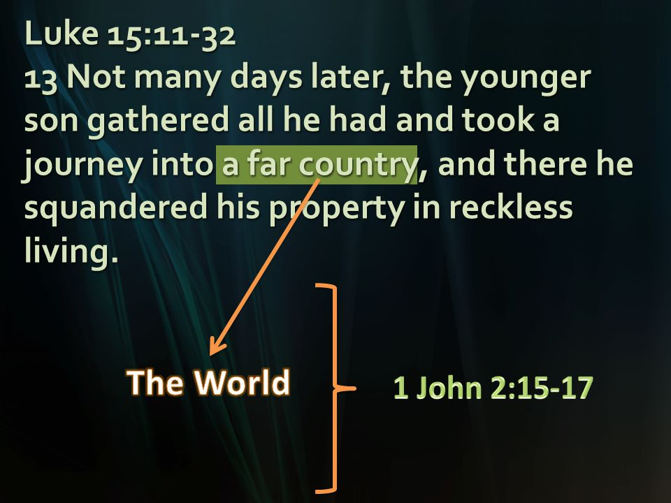 Luke 15:11-32 13 Not many days later, the younger son gathered all he had and took a journey into a far country, and there he squandered his property in reckless living.