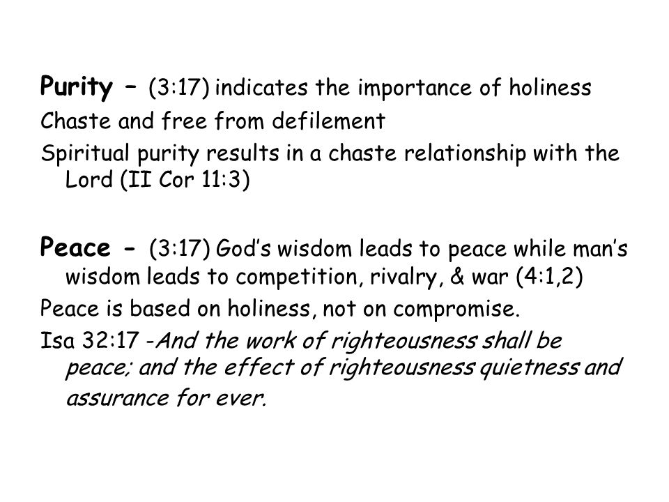 Purity – (3:17) indicates the importance of holiness Chaste and free from defilement Spiritual purity results in a chaste relationship with the Lord (
