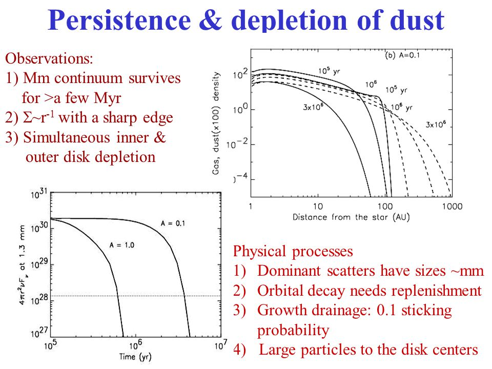 Persistence & depletion of dust Observations: 1) Mm continuum survives for >a few Myr 2)  ~r -1 with a sharp edge 3) Simultaneous inner & outer disk depletion Physical processes 1)Dominant scatters have sizes ~mm 2)Orbital decay needs replenishment 3)Growth drainage: 0.1 sticking probability 4) Large particles to the disk centers