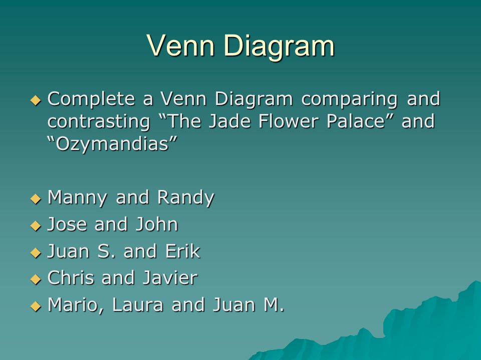 "Venn Diagram  Complete a Venn Diagram comparing and contrasting ""The Jade Flower Palace"" and ""Ozymandias""  Manny and Randy  Jose and John  Juan S."