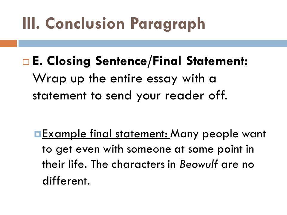 What is a final statnment in a essay