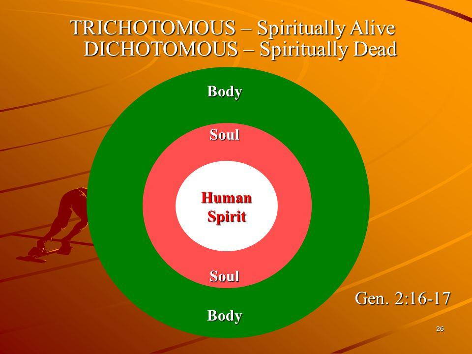 26 Body Body TRICHOTOMOUS – Spiritually Alive SoulSoul Human Spirit DICHOTOMOUS – Spiritually Dead Gen. 2:16-17