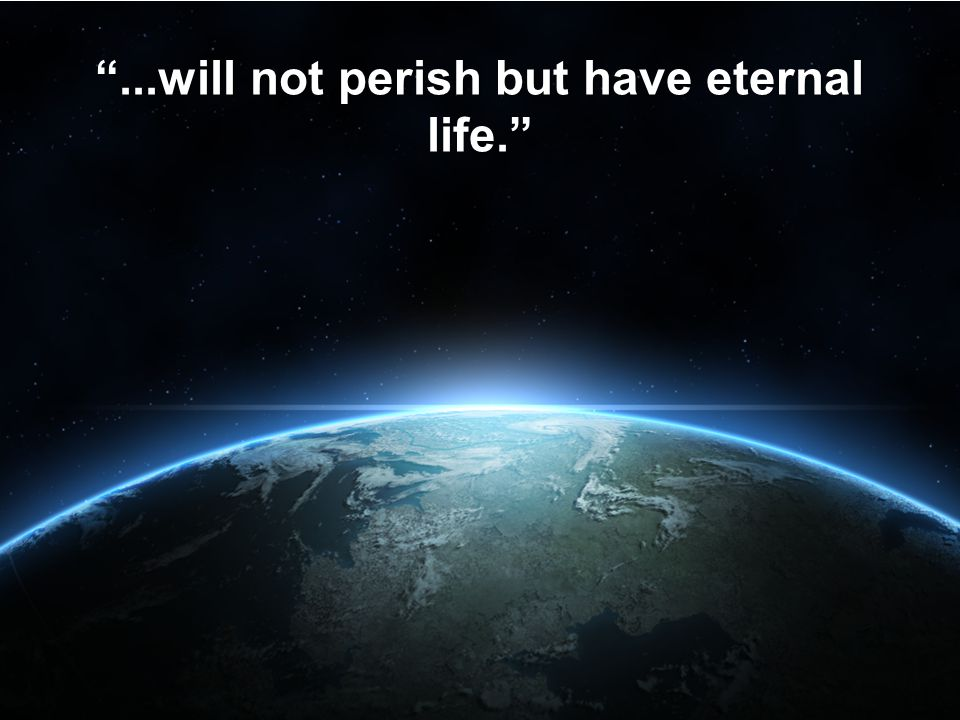 """""""...will not perish but have eternal life."""""""