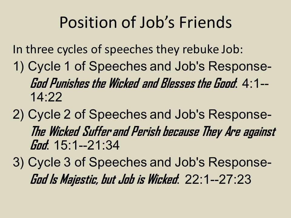 Position of Job's Friends In three cycles of speeches they rebuke Job: 1) Cycle 1 of Speeches and Job s Response- God Punishes the Wicked and Blesses the Good : 4:1-- 14:22 2) Cycle 2 of Speeches and Job s Response- The Wicked Suffer and Perish because They Are against God : 15:1--21:34 3) Cycle 3 of Speeches and Job s Response- God Is Majestic, but Job is Wicked : 22:1--27:23