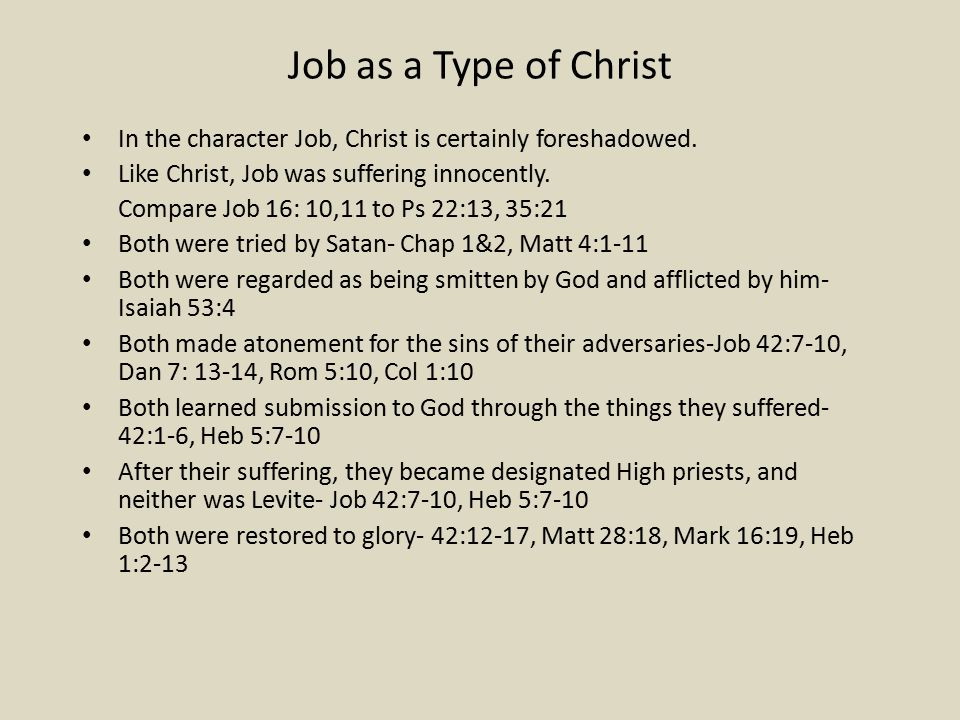Job as a Type of Christ In the character Job, Christ is certainly foreshadowed.