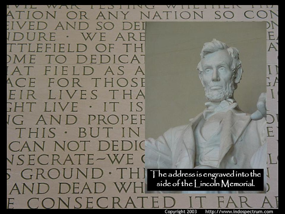 The address is engraved into the side of the Lincoln Memorial.