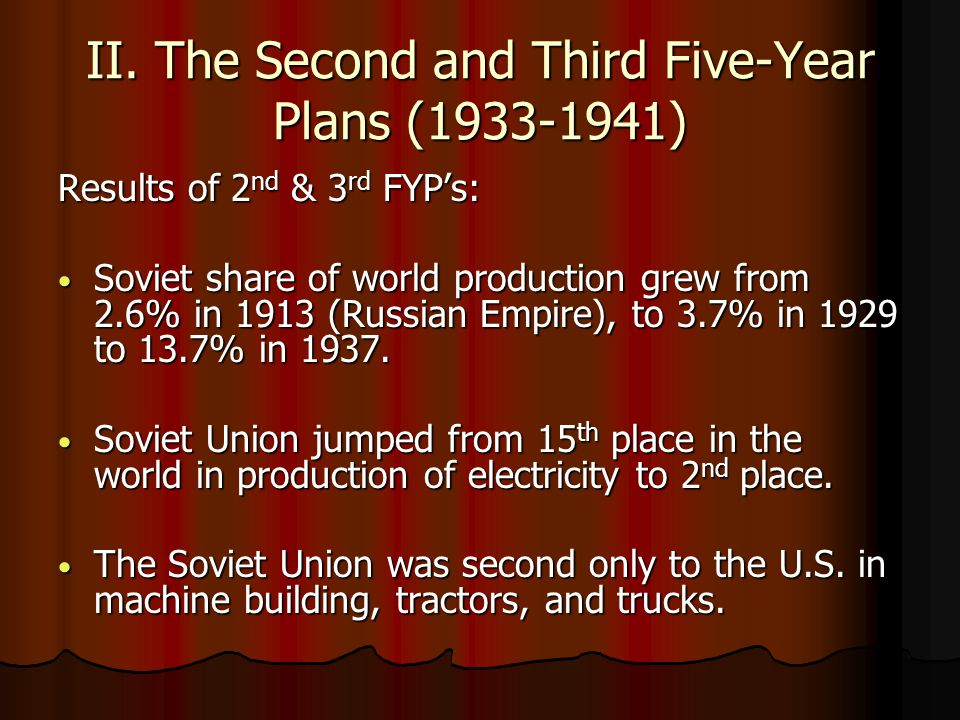 II. The Second and Third Five-Year Plans (1933-1941) Results of 2 nd & 3 rd FYP's: Soviet share of world production grew from 2.6% in 1913 (Russian Em