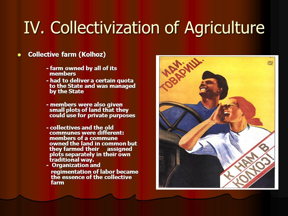IV. Collectivization of Agriculture Collective farm (Kolhoz) Collective farm (Kolhoz) - farm owned by all of its members - had to deliver a certain qu