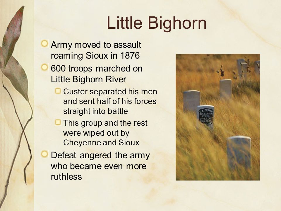 Little Bighorn Army moved to assault roaming Sioux in 1876 600 troops marched on Little Bighorn River Custer separated his men and sent half of his fo