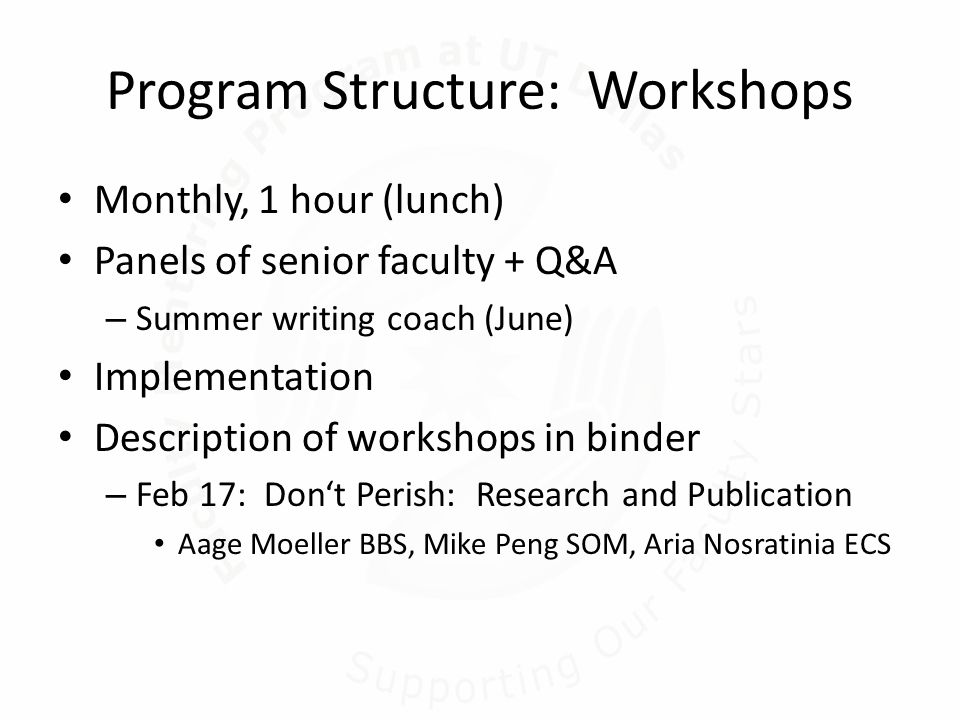 Program Structure: Workshops Monthly, 1 hour (lunch) Panels of senior faculty + Q&A – Summer writing coach (June) Implementation Description of workshops in binder – Feb 17: Don't Perish: Research and Publication Aage Moeller BBS, Mike Peng SOM, Aria Nosratinia ECS