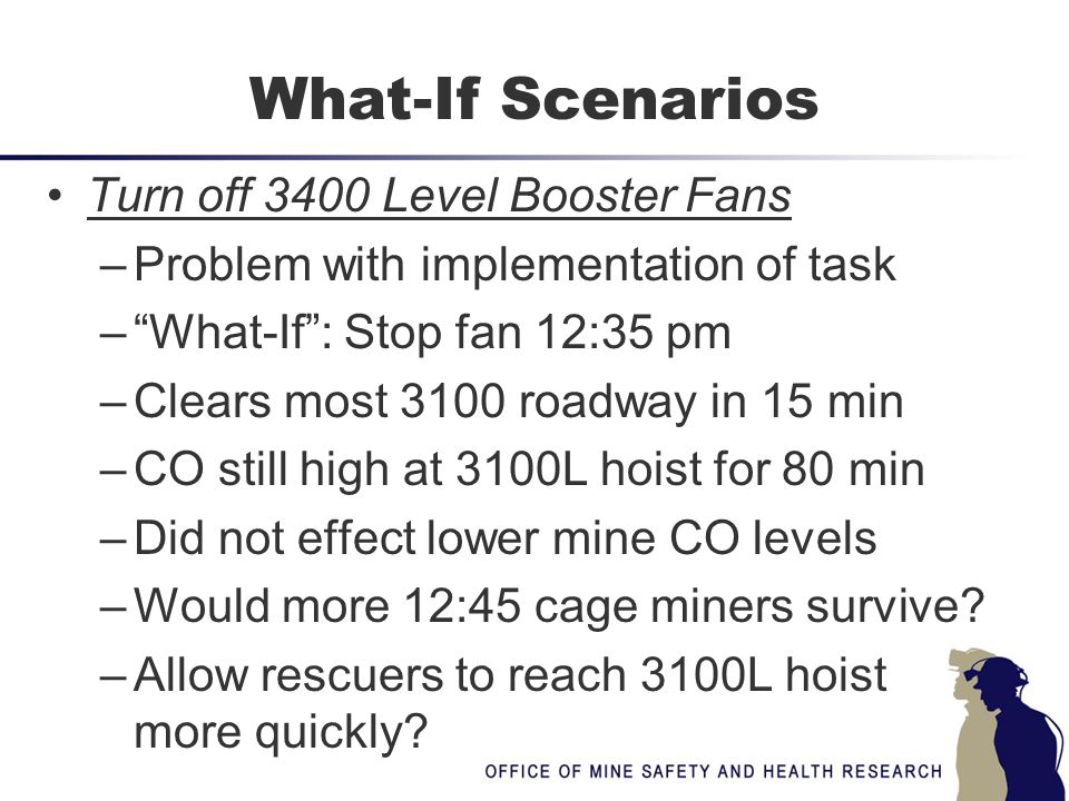 """What-If Scenarios Turn off 3400 Level Booster Fans –Problem with implementation of task –""""What-If"""": Stop fan 12:35 pm –Clears most 3100 roadway in 15"""
