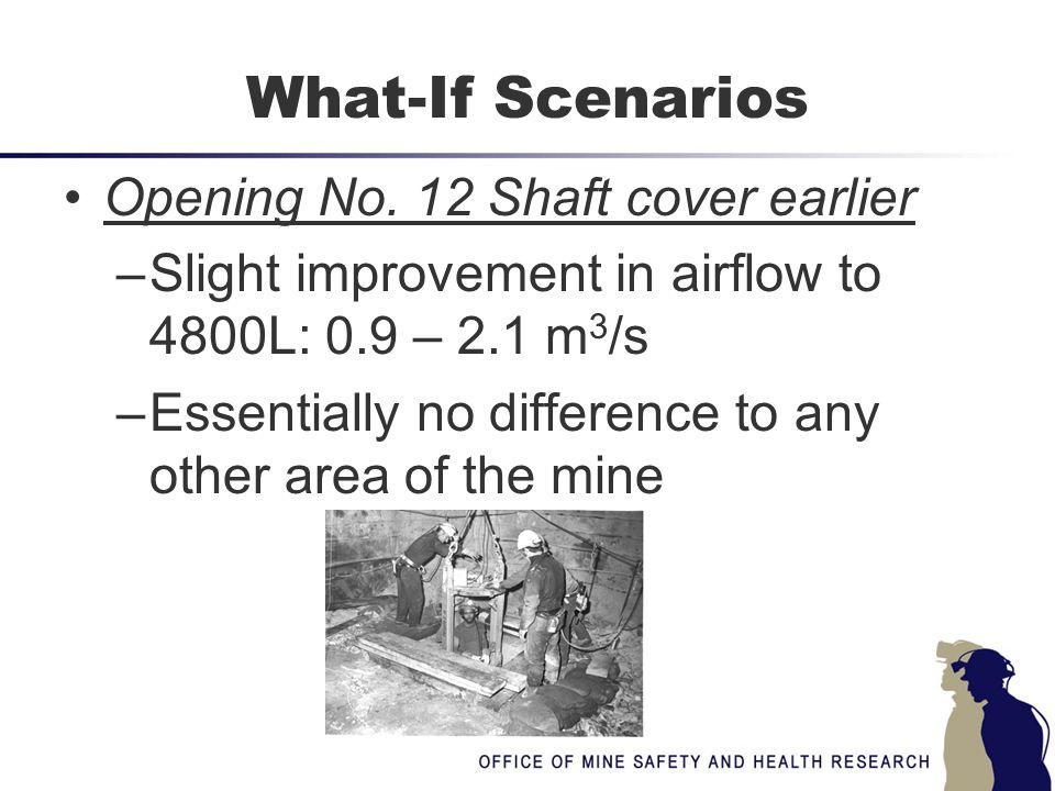What-If Scenarios Opening No. 12 Shaft cover earlier –Slight improvement in airflow to 4800L: 0.9 – 2.1 m 3 /s –Essentially no difference to any other