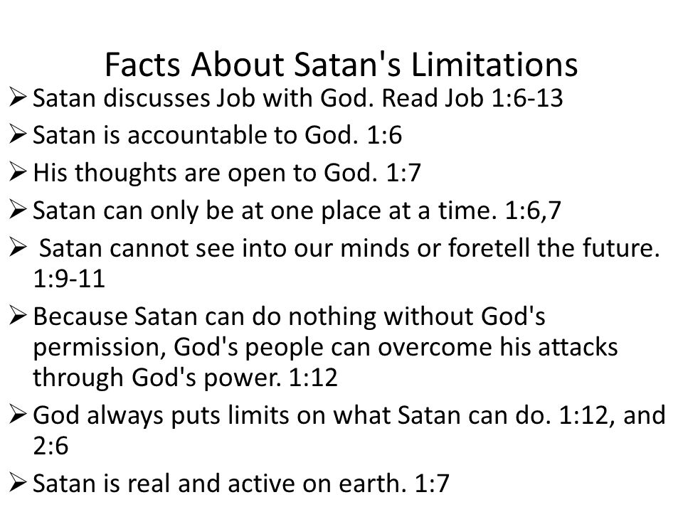 Facts About Satan s Limitations  Satan discusses Job with God.