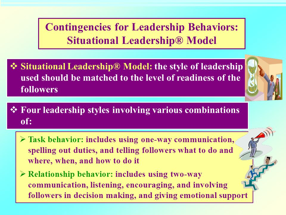 Contingencies for Leadership Behaviors: Situational Leadership® Model  Situational Leadership® Model: the style of leadership used should be matched