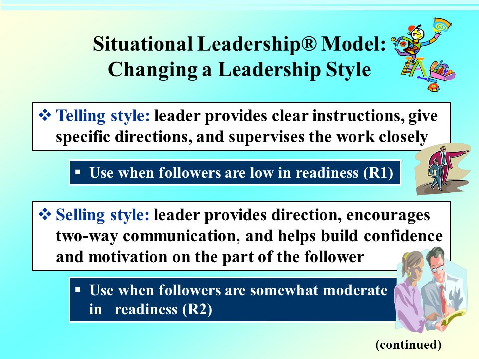 Situational Leadership® Model: Changing a Leadership Style  Telling style: leader provides clear instructions, give specific directions, and supervis