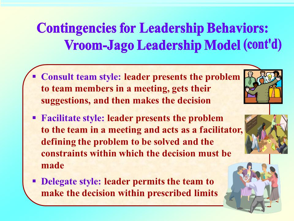  Consult team style: leader presents the problem to team members in a meeting, gets their suggestions, and then makes the decision  Facilitate style