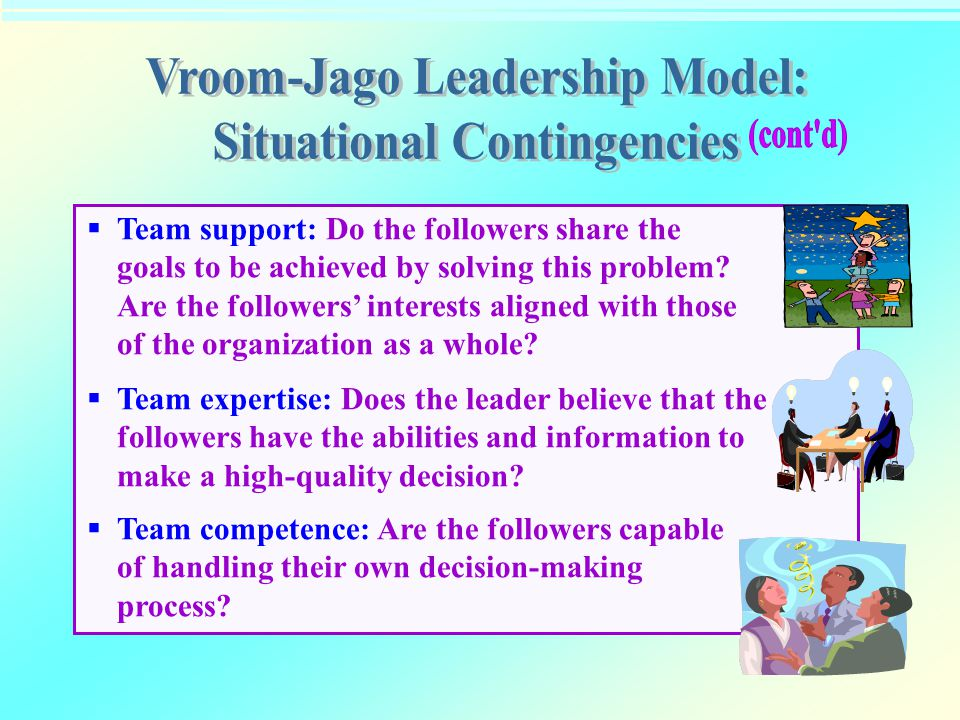  Team support: Do the followers share the goals to be achieved by solving this problem? Are the followers' interests aligned with those of the organi