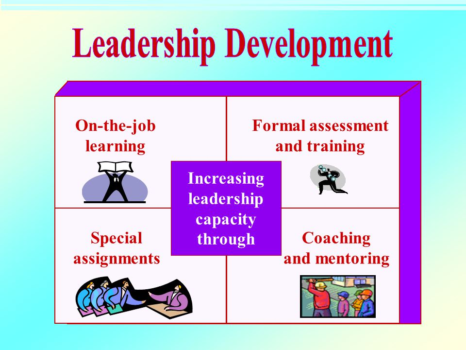 On-the-job learning Formal assessment and training Special assignments Coaching and mentoring Increasing leadership capacity through