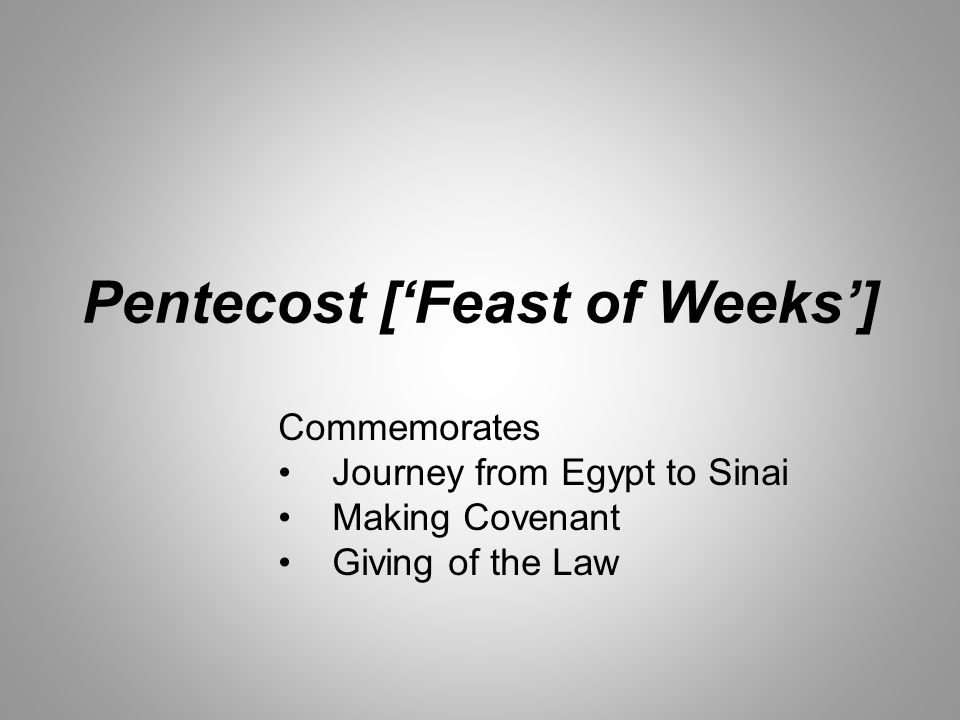 Pentecost ['Feast of Weeks'] Commemorates Journey from Egypt to Sinai Making Covenant Giving of the Law