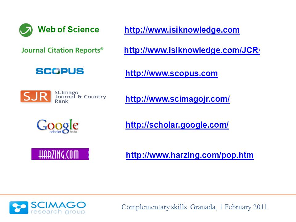 Web of Science http://www.scopus.com http://www.isiknowledge.com http://www.isiknowledge.com/JCR / http://www.scimagojr.com/ http://scholar.google.com/ http://www.harzing.com/pop.htm