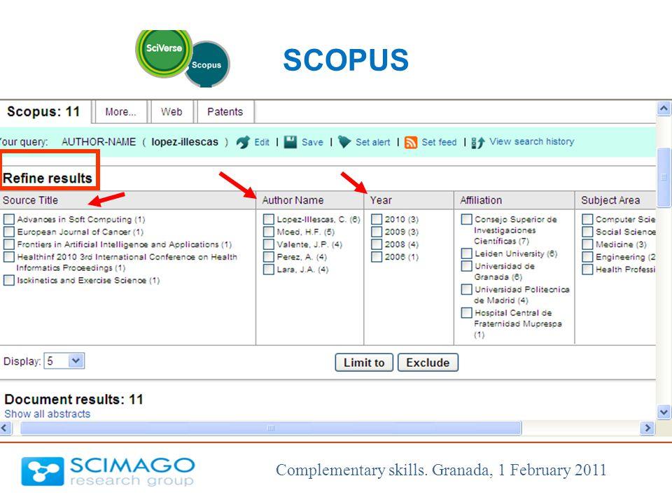 Complementary skills. Granada, 1 February 2011 SCOPUS