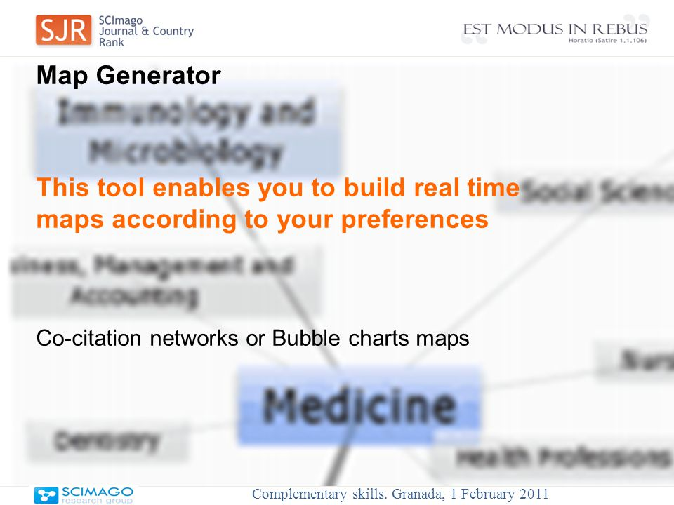 Map Generator This tool enables you to build real time maps according to your preferences Co-citation networks or Bubble charts maps Complementary skills.