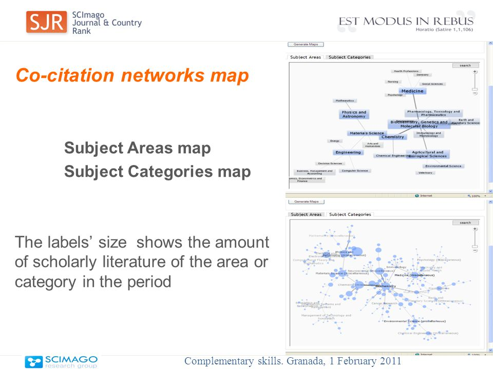 Co-citation networks map Subject Areas map Subject Categories map The labels' size shows the amount of scholarly literature of the area or category in the period Complementary skills.