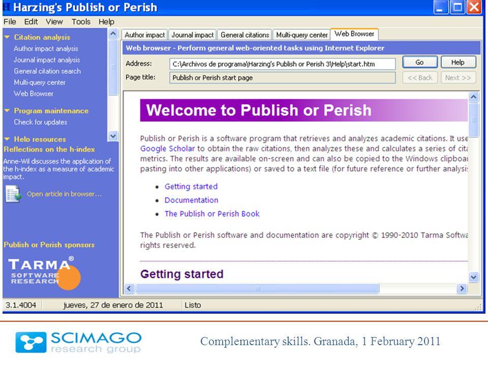 Complementary skills. Granada, 1 February 2011
