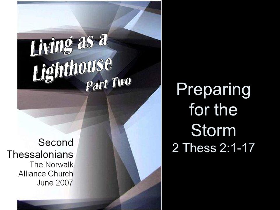  PART OF MATURING IN CHRIST ENTAILS PREPARING FOR THE STORMS AHEAD.