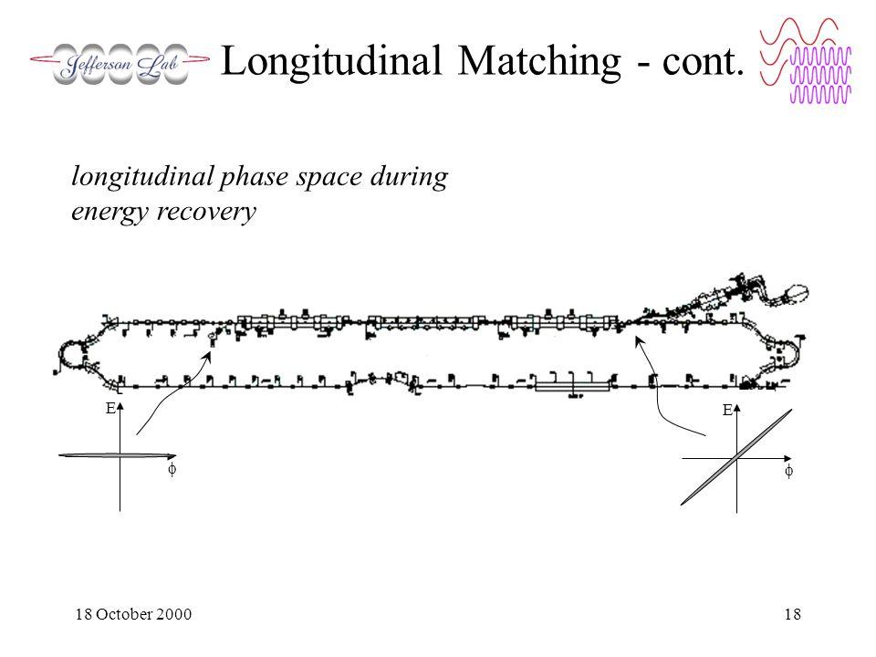 18 October 200018 Longitudinal Matching - cont.