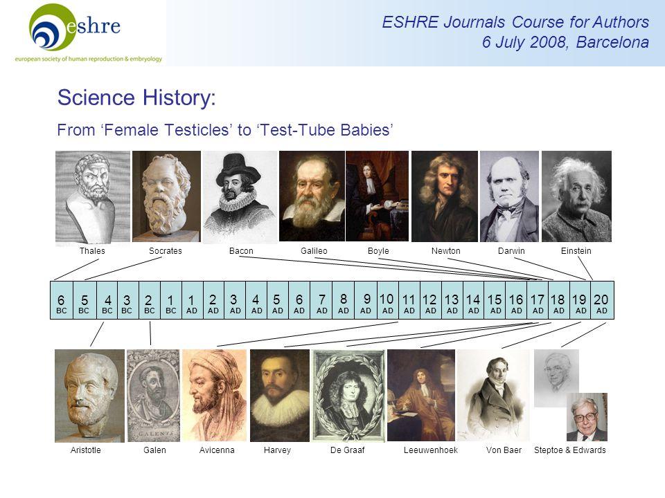ESHRE Journals Course for Authors 6 July 2008, Barcelona Science History: From 'Female Testicles' to 'Test-Tube Babies' 6 5 4 3 2 1 1 2 3 4 5 6 7 8 9 10 11121314151617181920 BC AD BaconBoyleNewtonDarwinEinsteinSocratesThalesGalileo 'Test-Tube Babies' AristotleGalenAvicennaLeeuwenhoekDe GraafSteptoe & EdwardsVon BaerHarvey