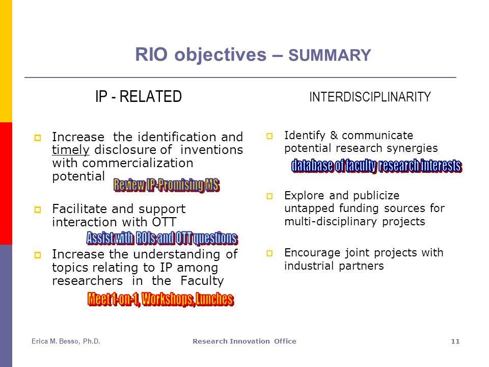 Erica M. Besso, Ph.D.Research Innovation Office11 RIO objectives – SUMMARY IP - RELATED  Increase the identification and timely disclosure of inventi