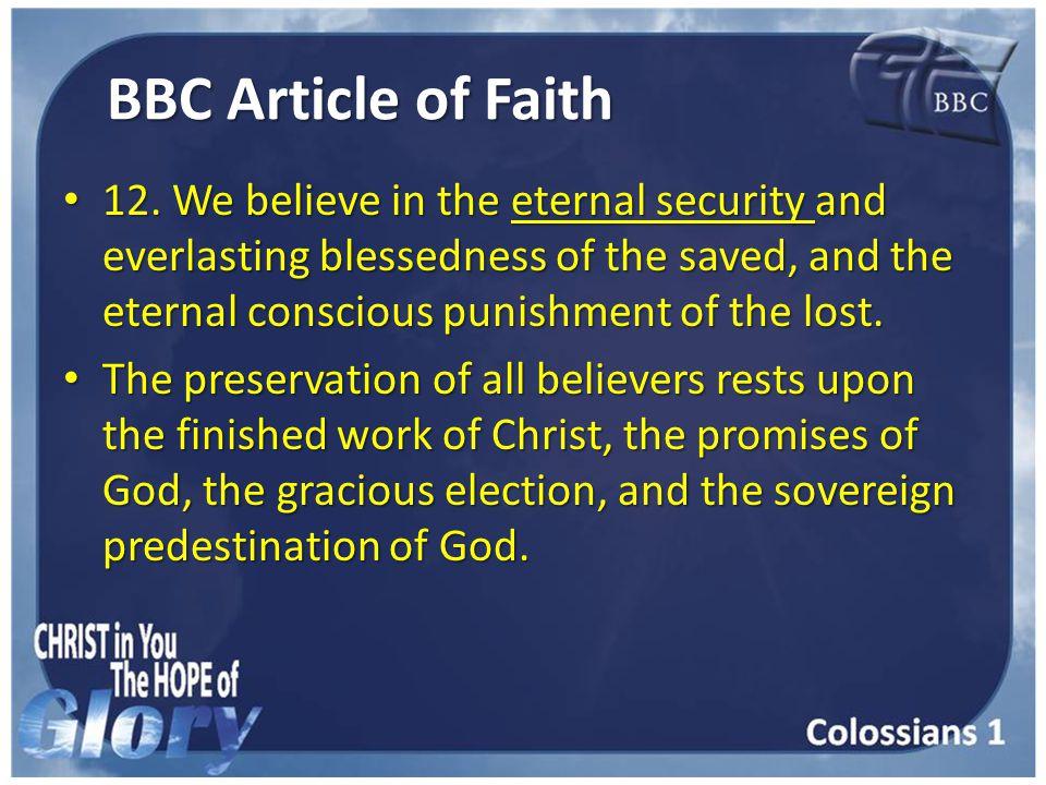 BBC Article of Faith 12.